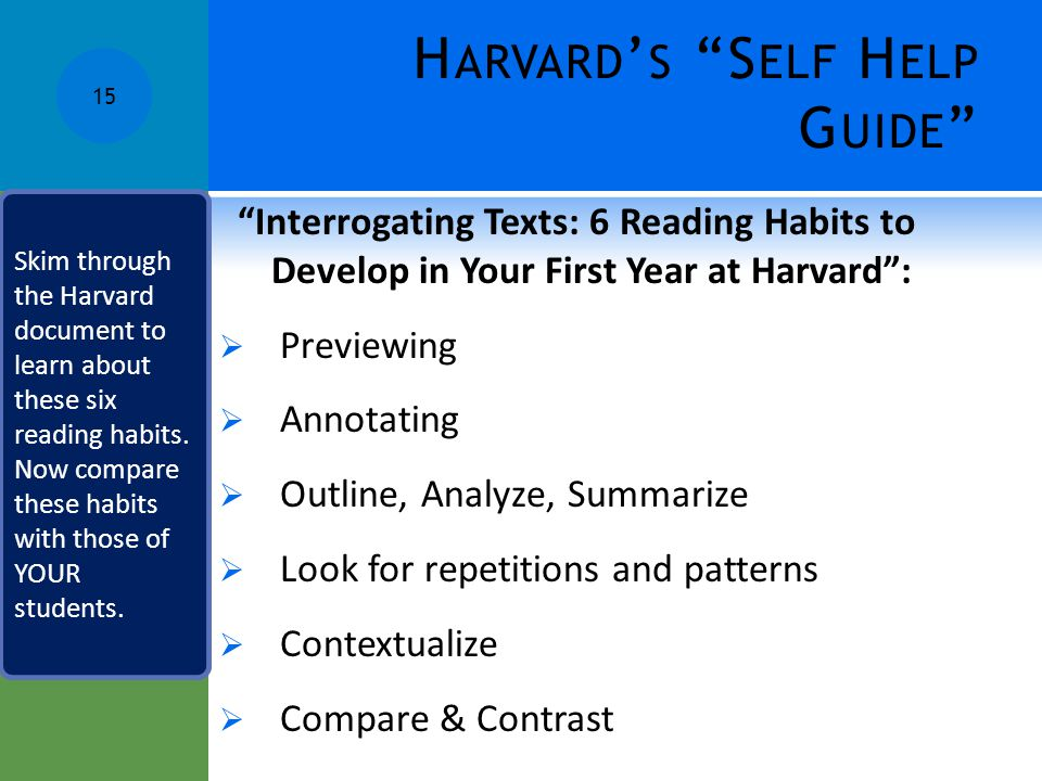 Harvard's Self Help Guide
