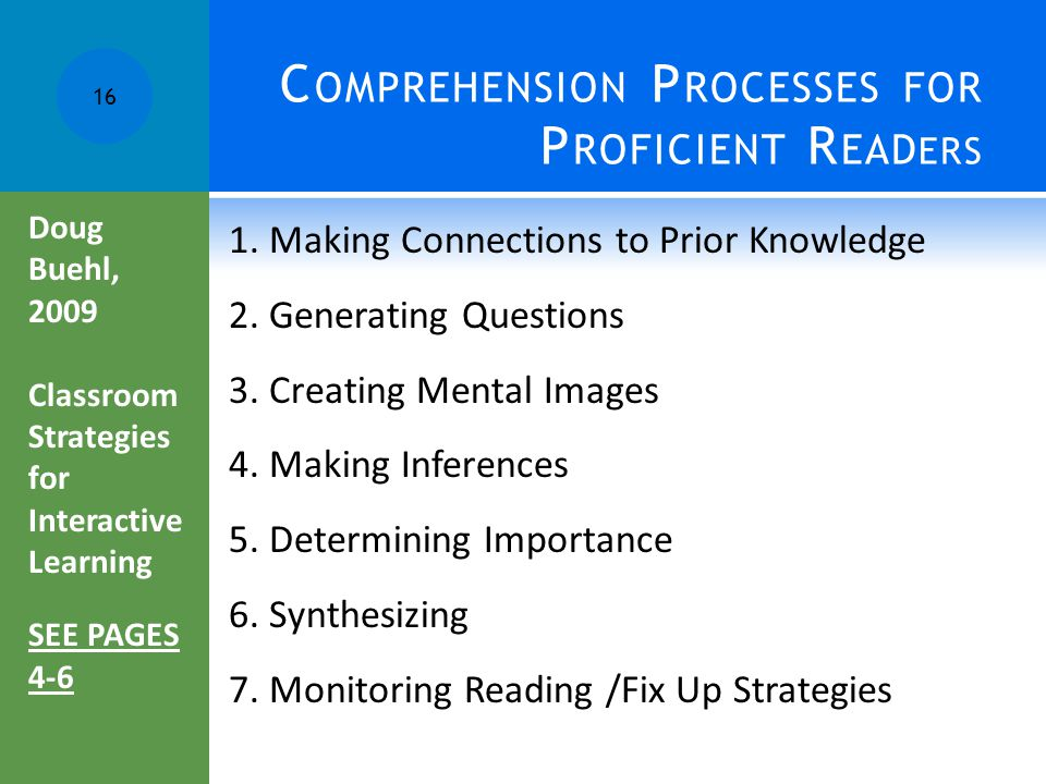Comprehension Processes for Proficient Readers