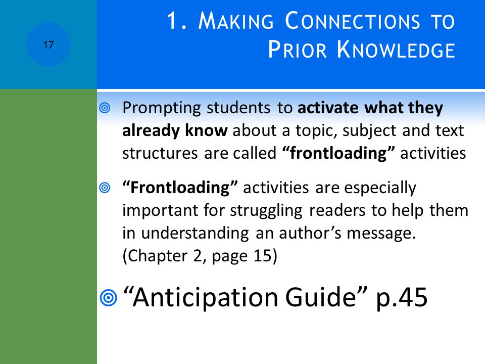 1. Making Connections to Prior Knowledge