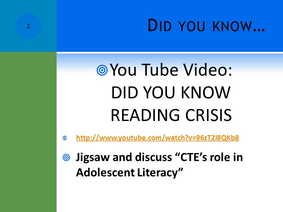 You Tube Video: DID YOU KNOW READING CRISIS
