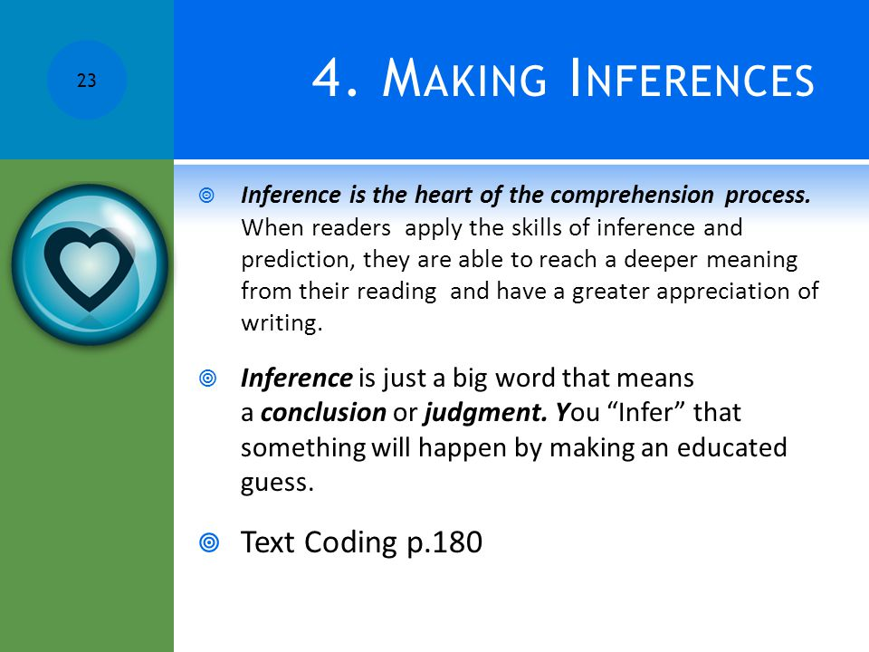 4. Making Inferences Text Coding p.180