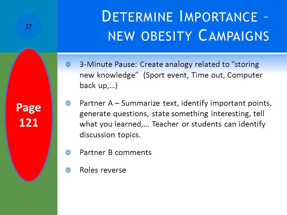 Determine Importance – new obesity Campaigns