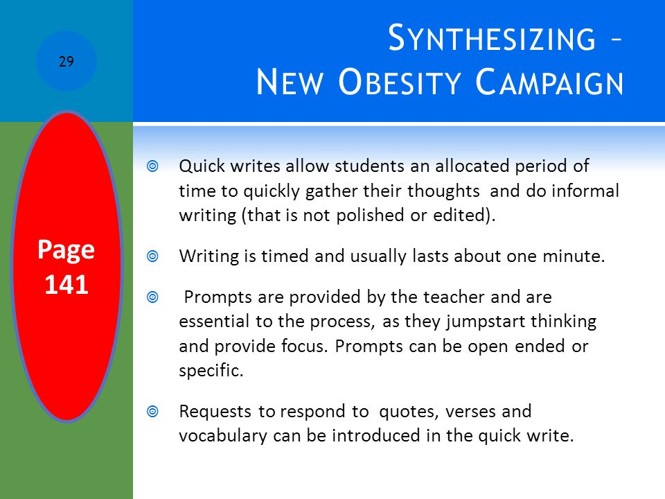 Synthesizing – New Obesity Campaign