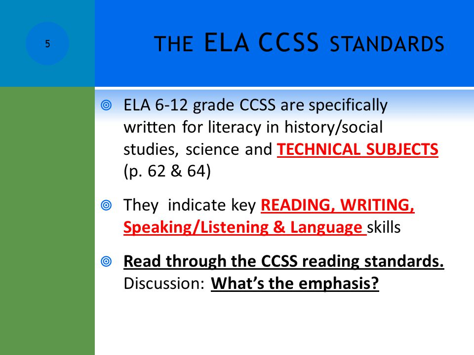 the ELA CCSS standards