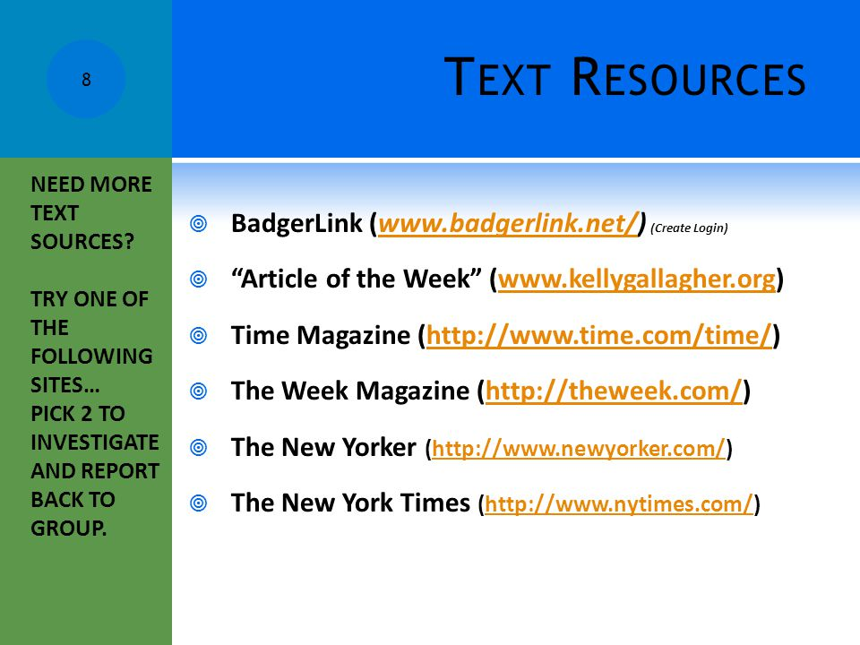 Text Resources BadgerLink (www.badgerlink.net/) (Create Login)