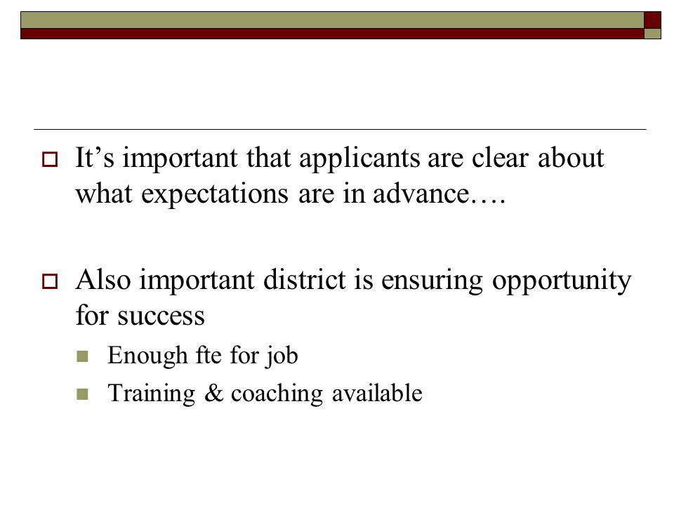 Also important district is ensuring opportunity for success
