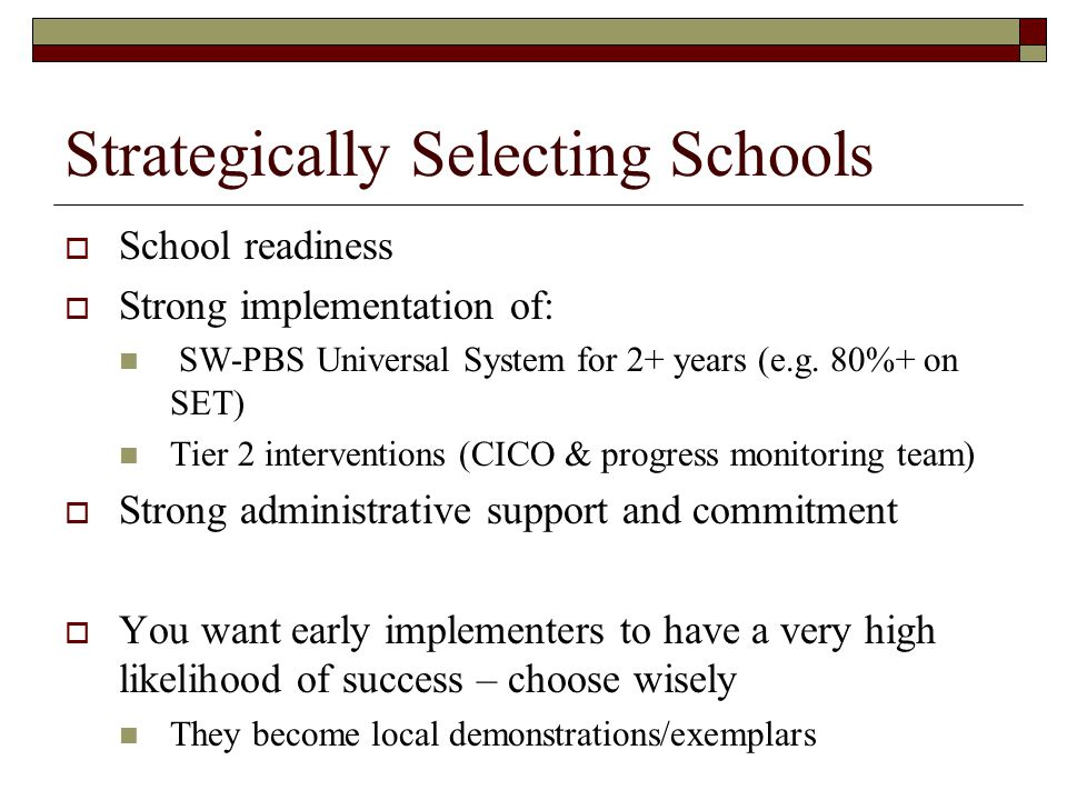 Strategically Selecting Schools