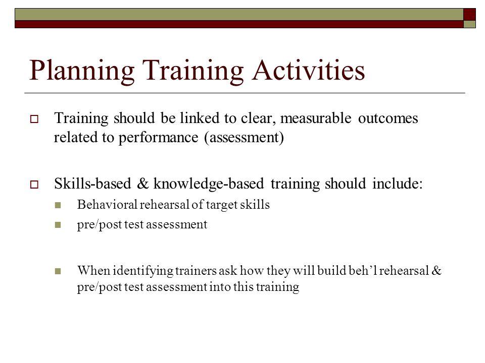 Planning Training Activities