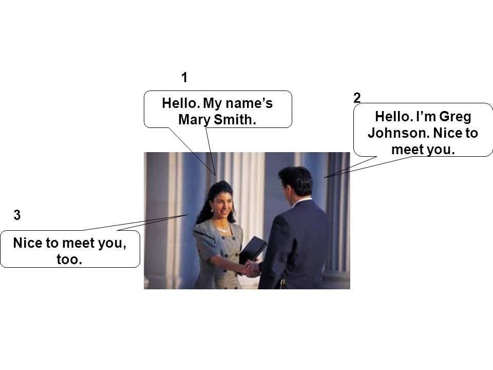 Hello. My name's Mary Smith.