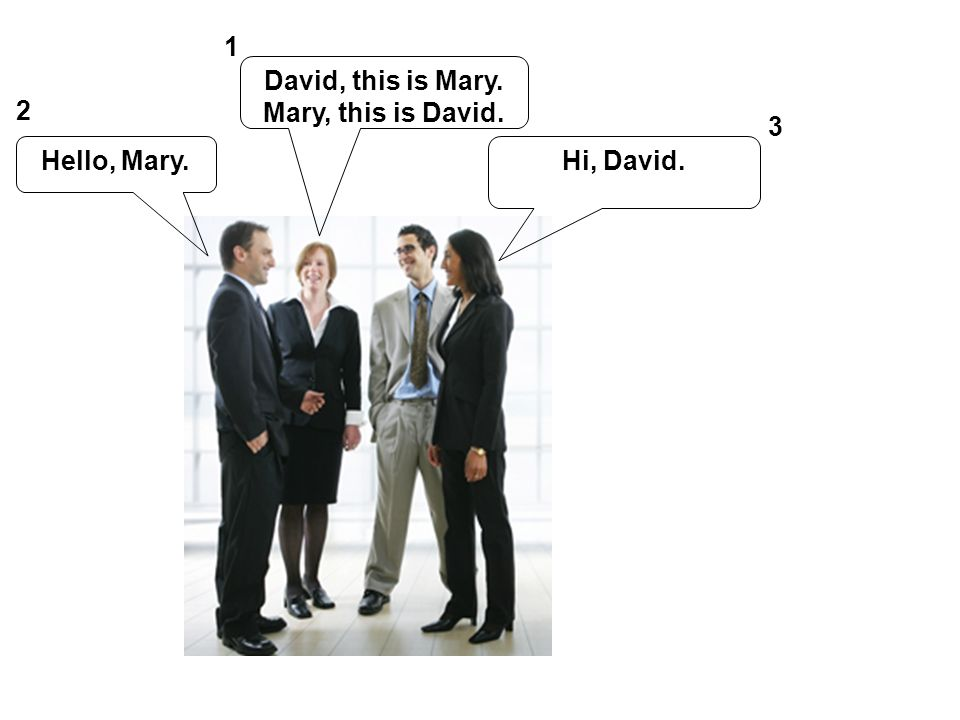 1 David, this is Mary. Mary, this is David. 2 3 Hello, Mary. Hi, David.
