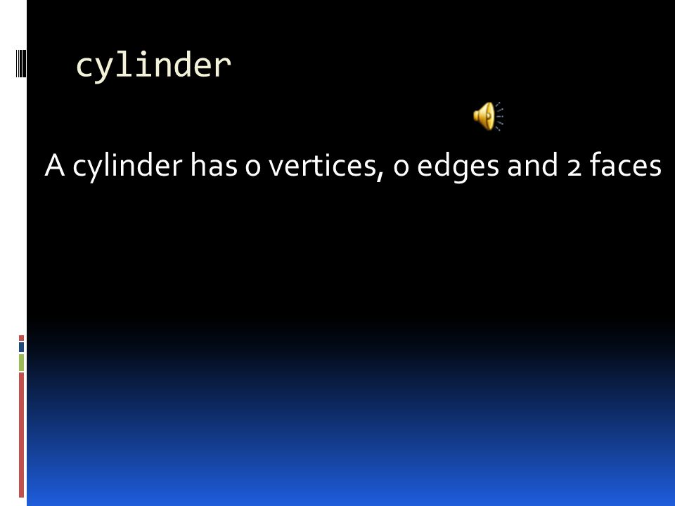 cylinder A cylinder has 0 vertices, 0 edges and 2 faces