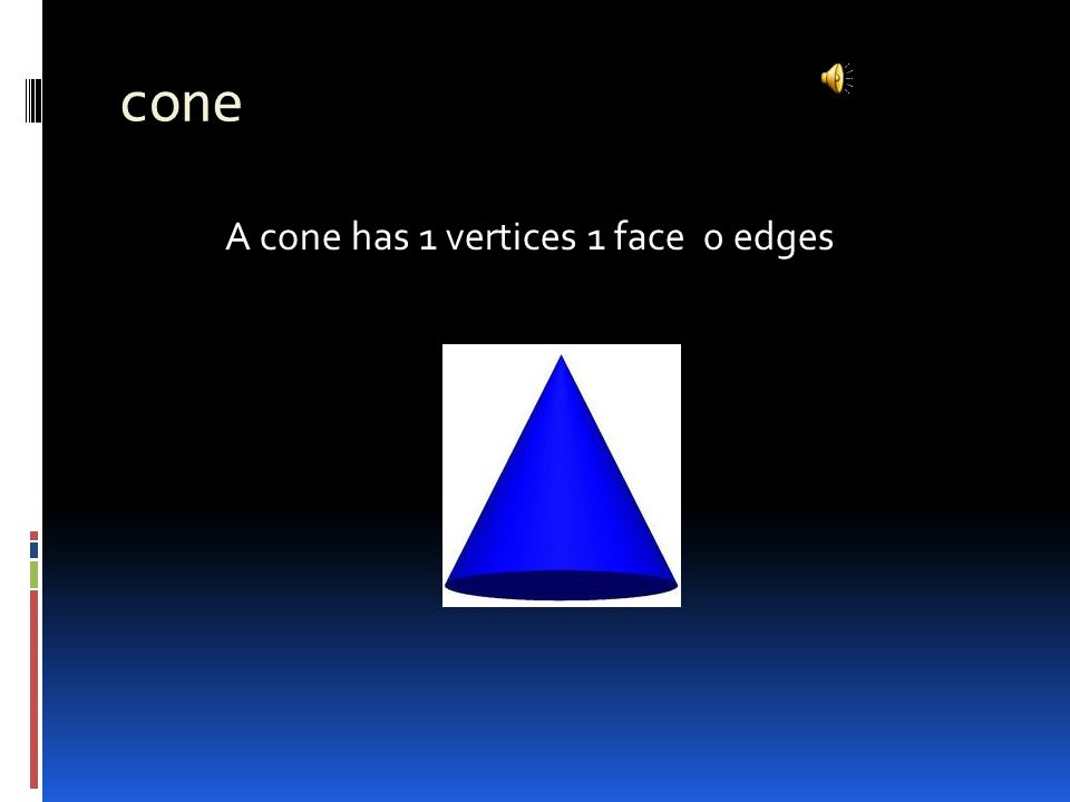 cone A cone has 1 vertices 1 face 0 edges