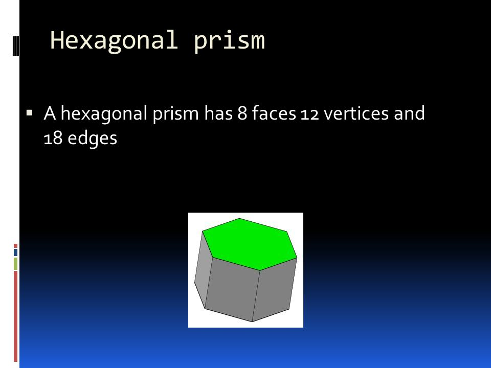 Hexagonal prism A hexagonal prism has 8 faces 12 vertices and 18 edges