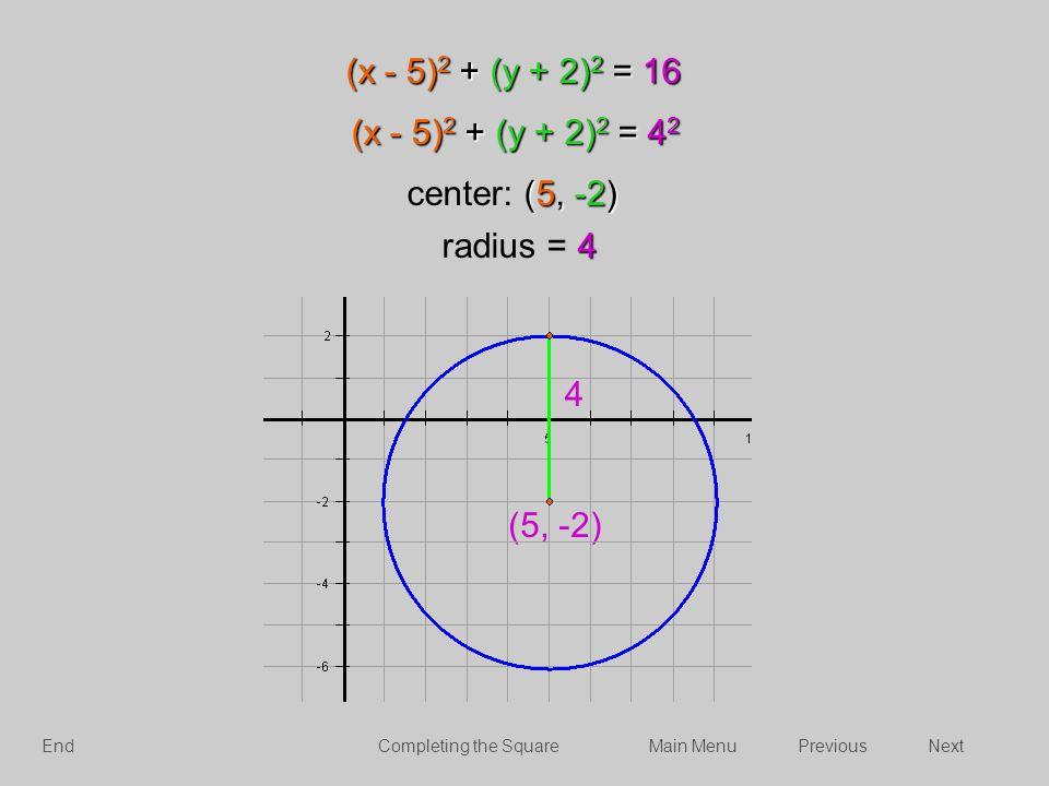 (x - 5)2 + (y + 2)2 = 16 (x - 5)2 + (y + 2)2 = 42 center: (5, -2)