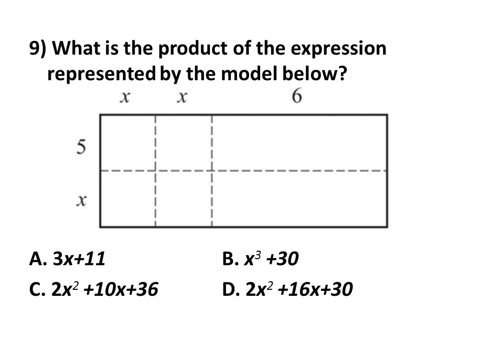 9) What is the product of the expression represented by the model below.