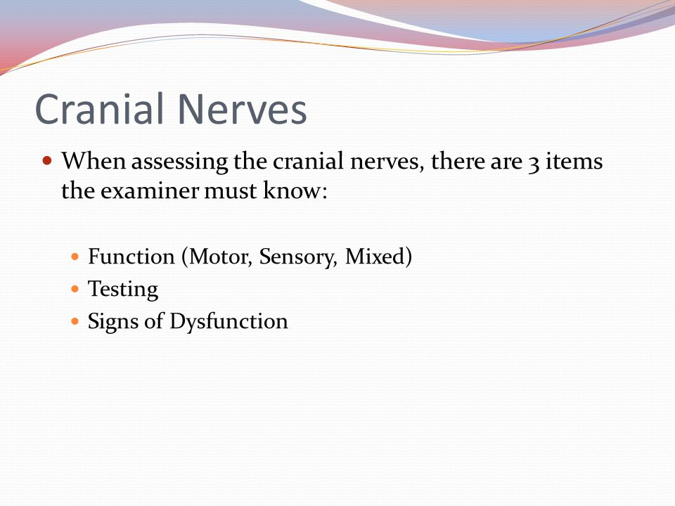 Cranial Nerves When assessing the cranial nerves, there are 3 items the examiner must know: Function (Motor, Sensory, Mixed)
