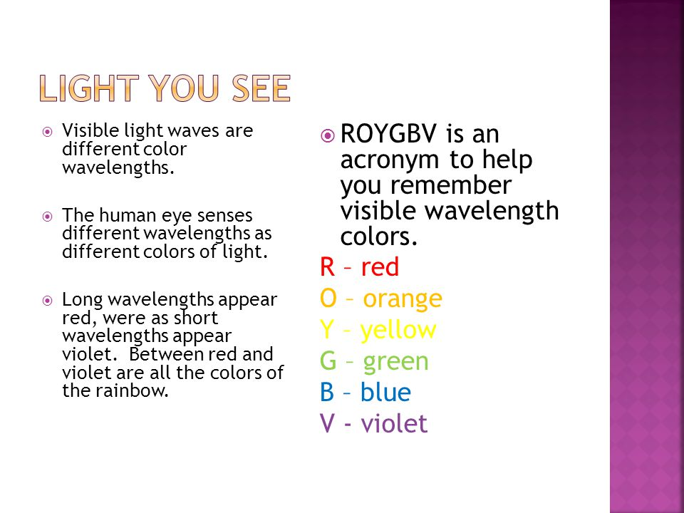 Light You See Visible light waves are different color wavelengths. The human eye senses different wavelengths as different colors of light.