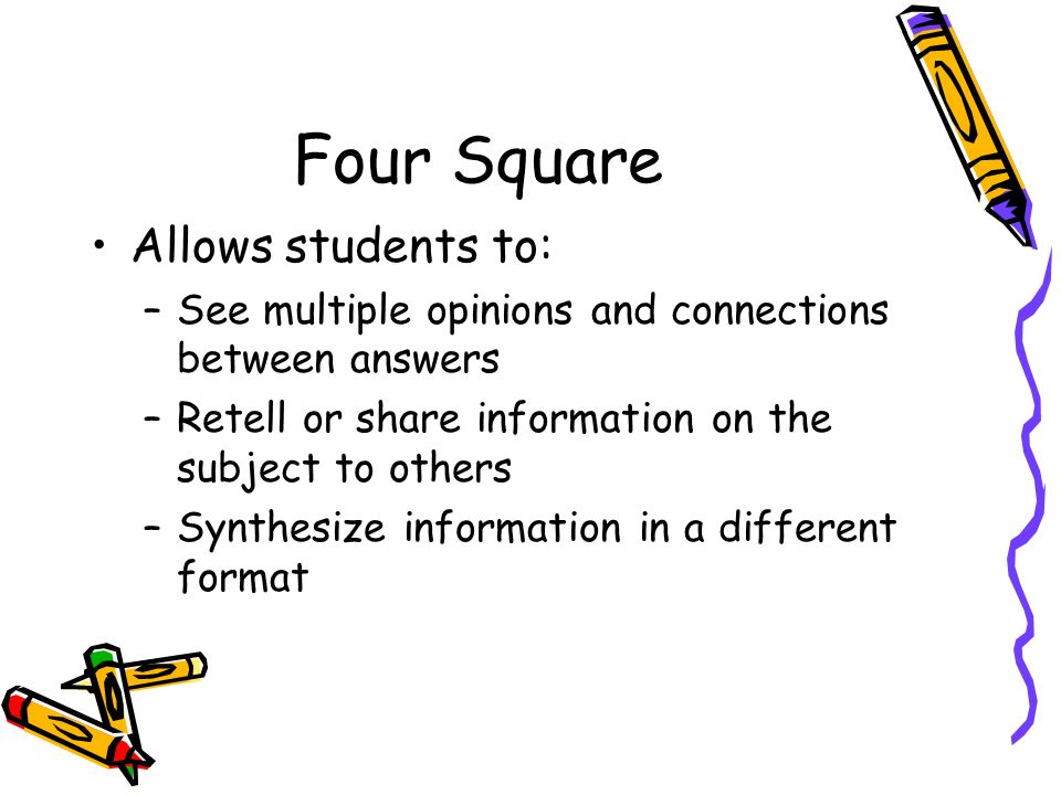 Four Square Allows students to:
