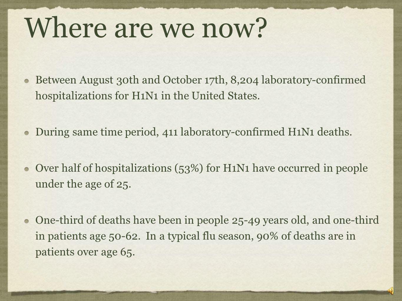 Where are we now Between August 30th and October 17th, 8,204 laboratory-confirmed hospitalizations for H1N1 in the United States.