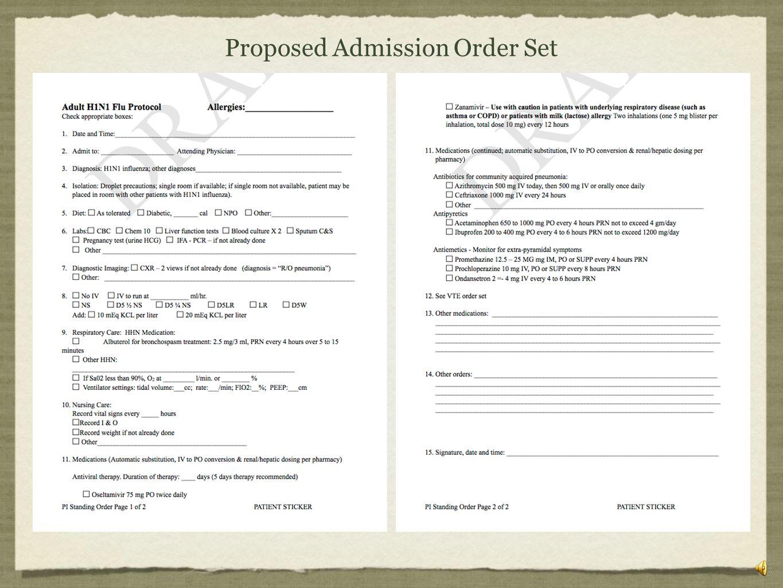 Proposed Admission Order Set