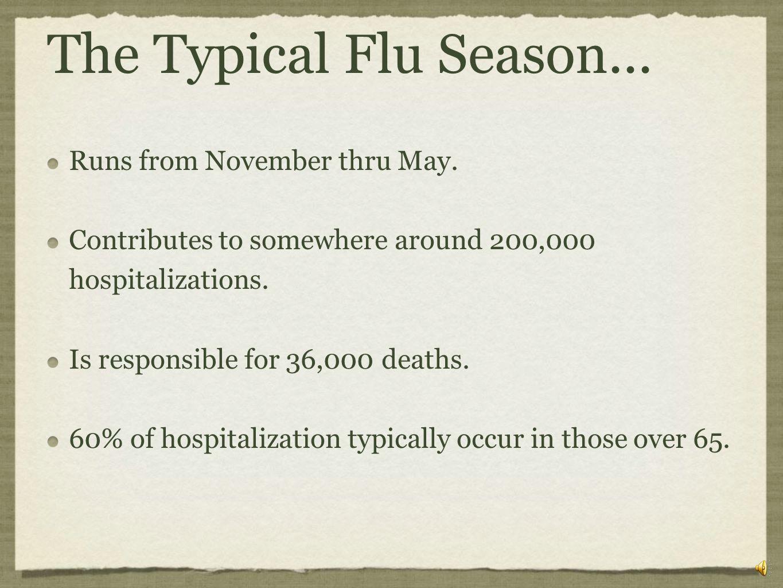 The Typical Flu Season... Runs from November thru May.
