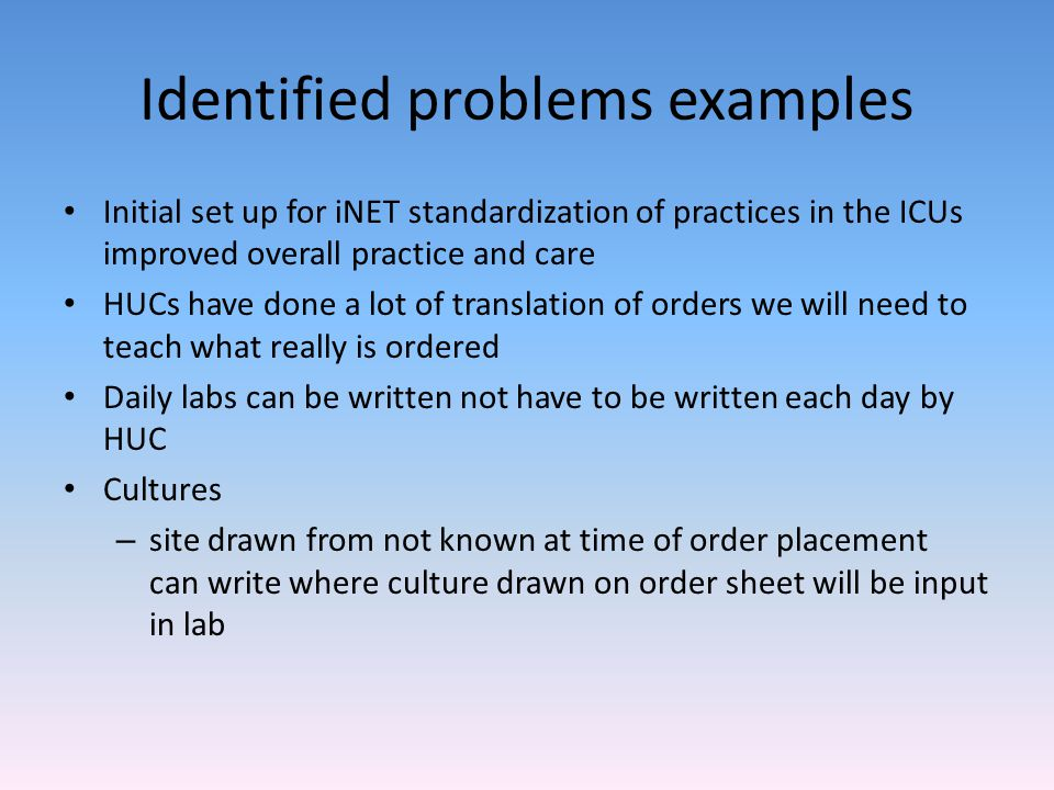Identified problems examples