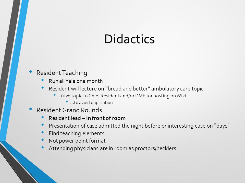 Didactics Resident Teaching Resident Grand Rounds