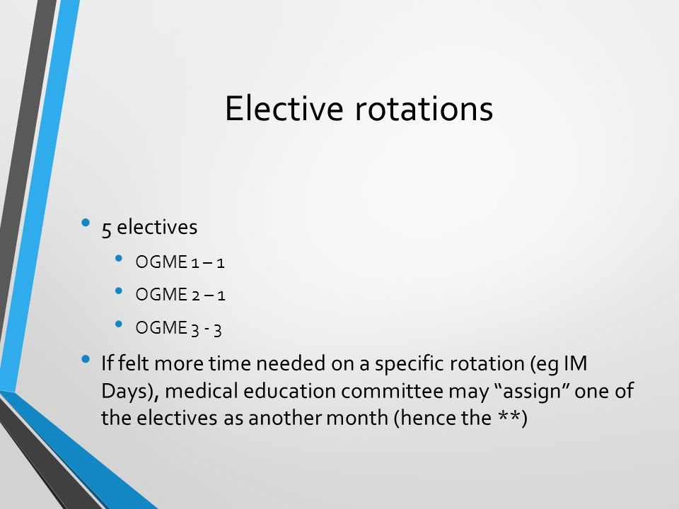 Elective rotations 5 electives
