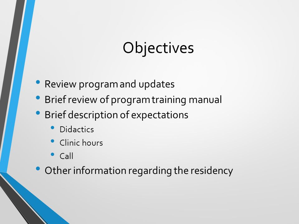 Objectives Review program and updates