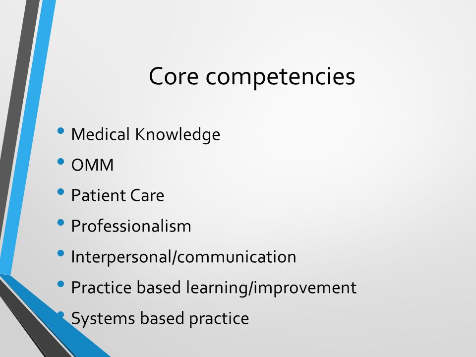 Core competencies Medical Knowledge OMM Patient Care Professionalism