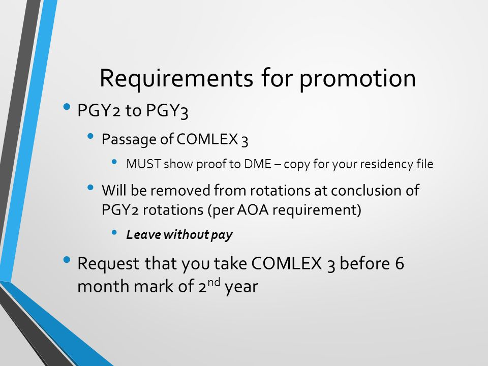 Requirements for promotion