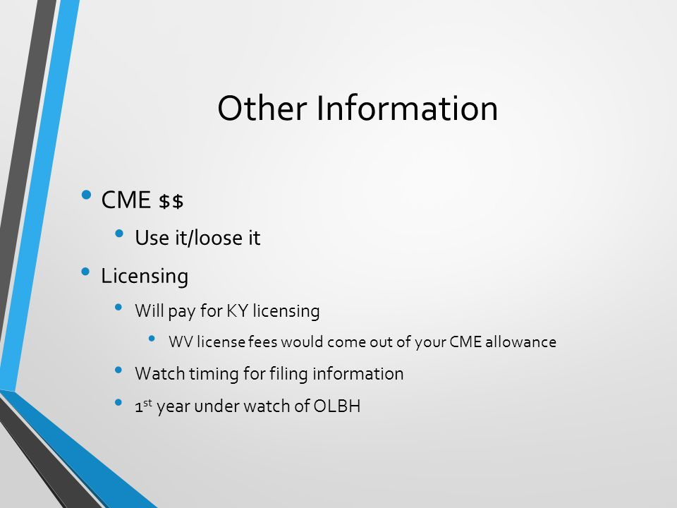 Other Information CME $$ Use it/loose it Licensing