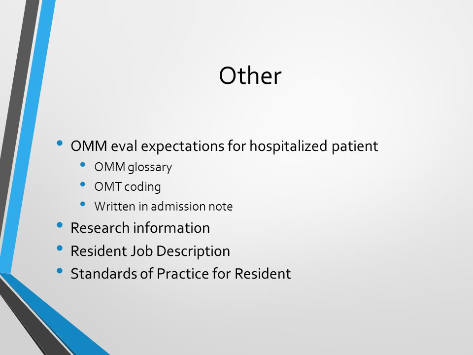 Other OMM eval expectations for hospitalized patient