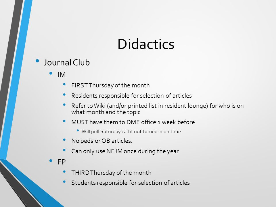Didactics Journal Club IM FP FIRST Thursday of the month