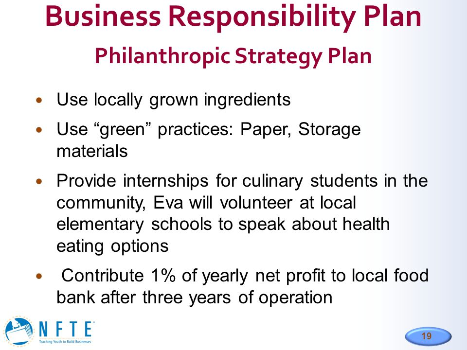 Business Responsibility Plan Philanthropic Strategy Plan