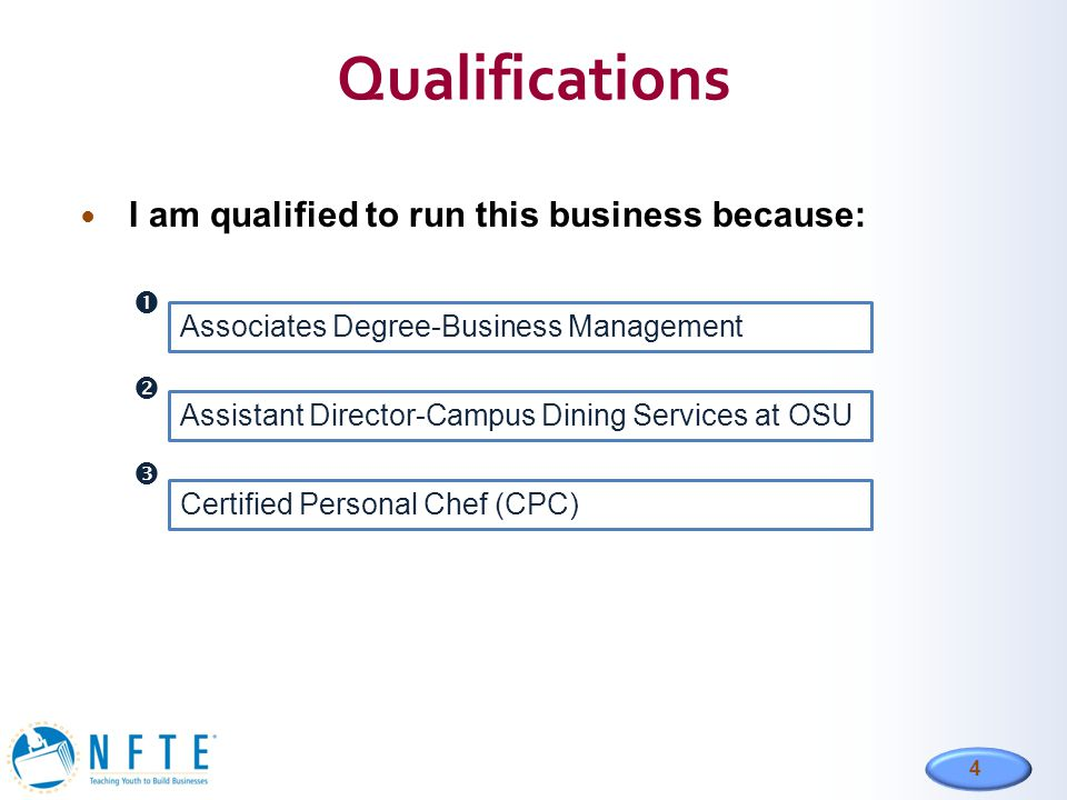 Qualifications I am qualified to run this business because:  