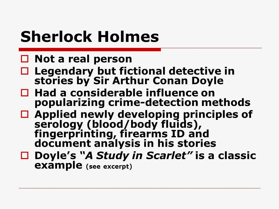 Sherlock Holmes Not a real person