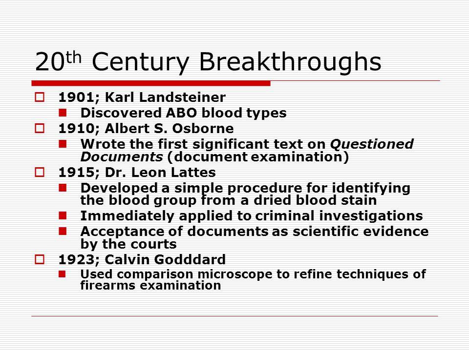 20th Century Breakthroughs