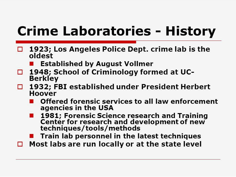Crime Laboratories - History