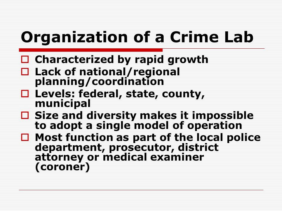Organization of a Crime Lab