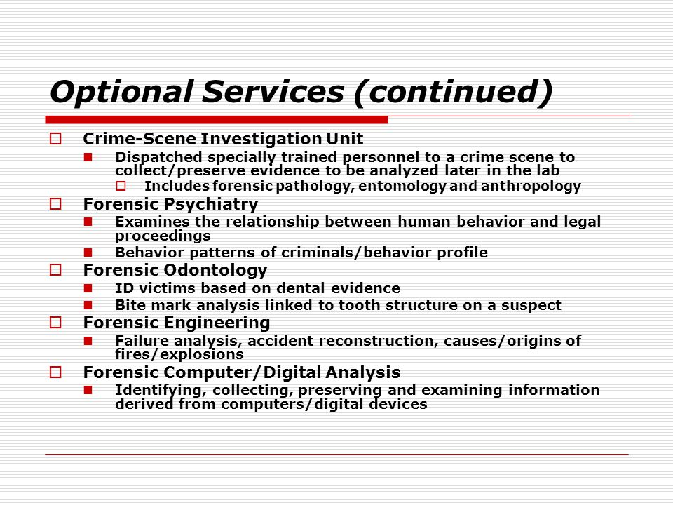 Optional Services (continued)