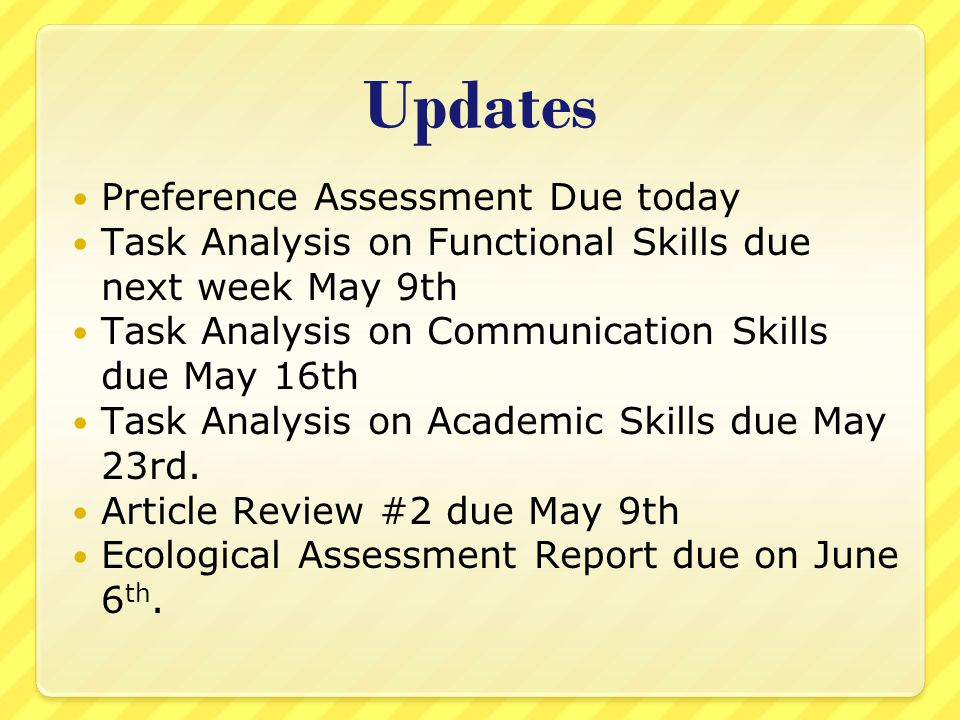 Updates Preference Assessment Due today