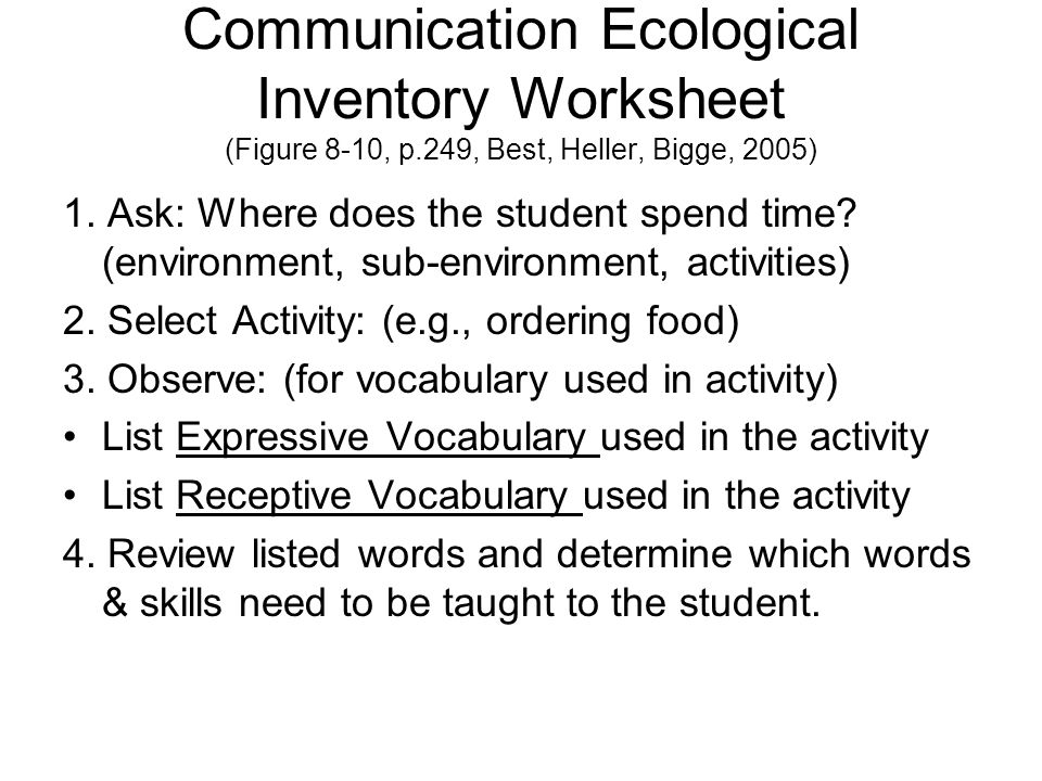 Communication Ecological Inventory Worksheet (Figure 8-10, p