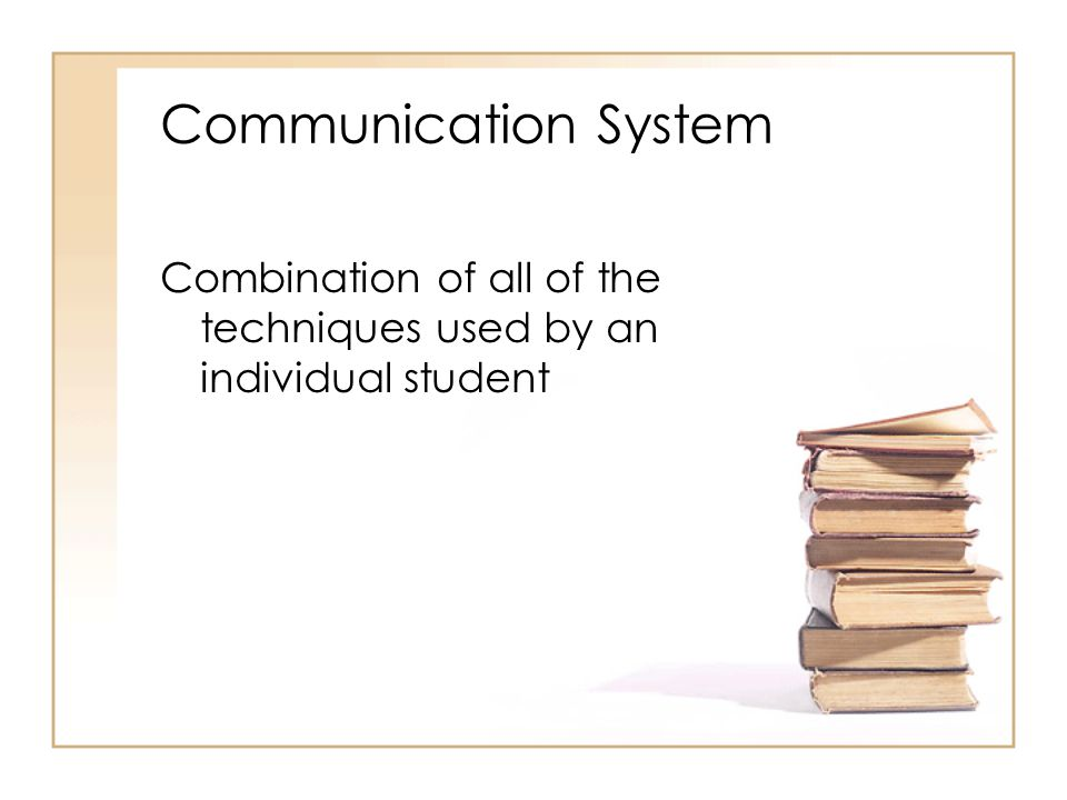 Communication System Combination of all of the techniques used by an individual student