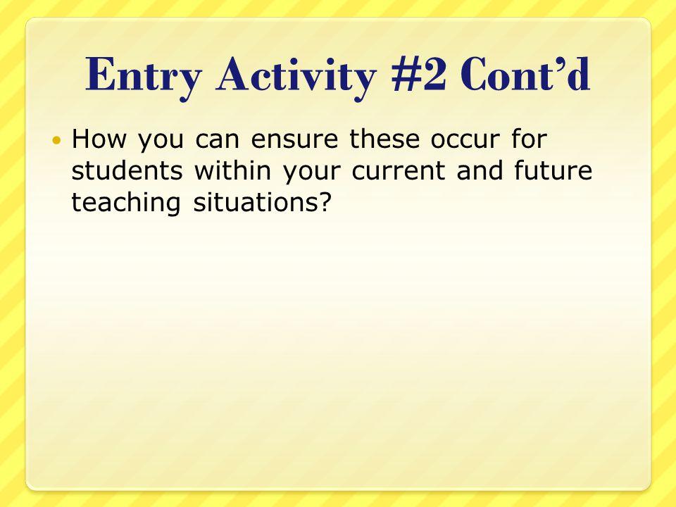 Entry Activity #2 Cont'd