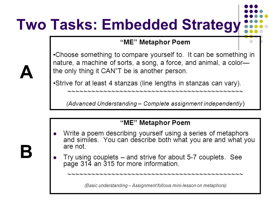 Two Tasks: Embedded Strategy