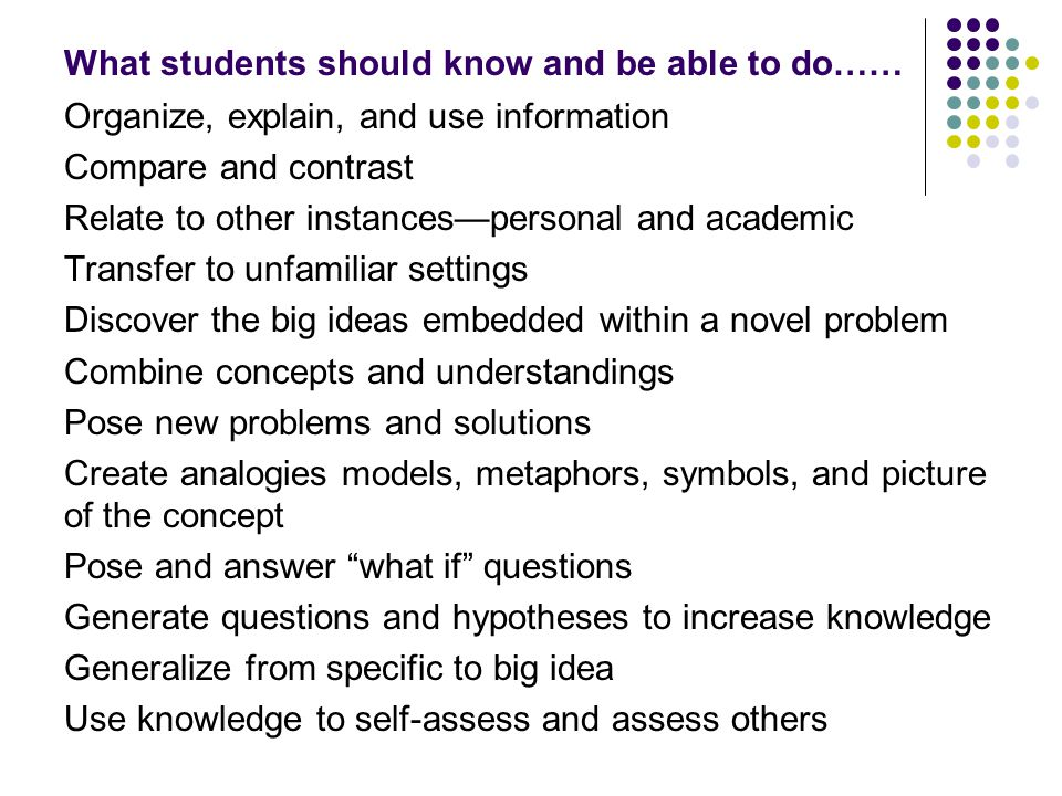 What students should know and be able to do……