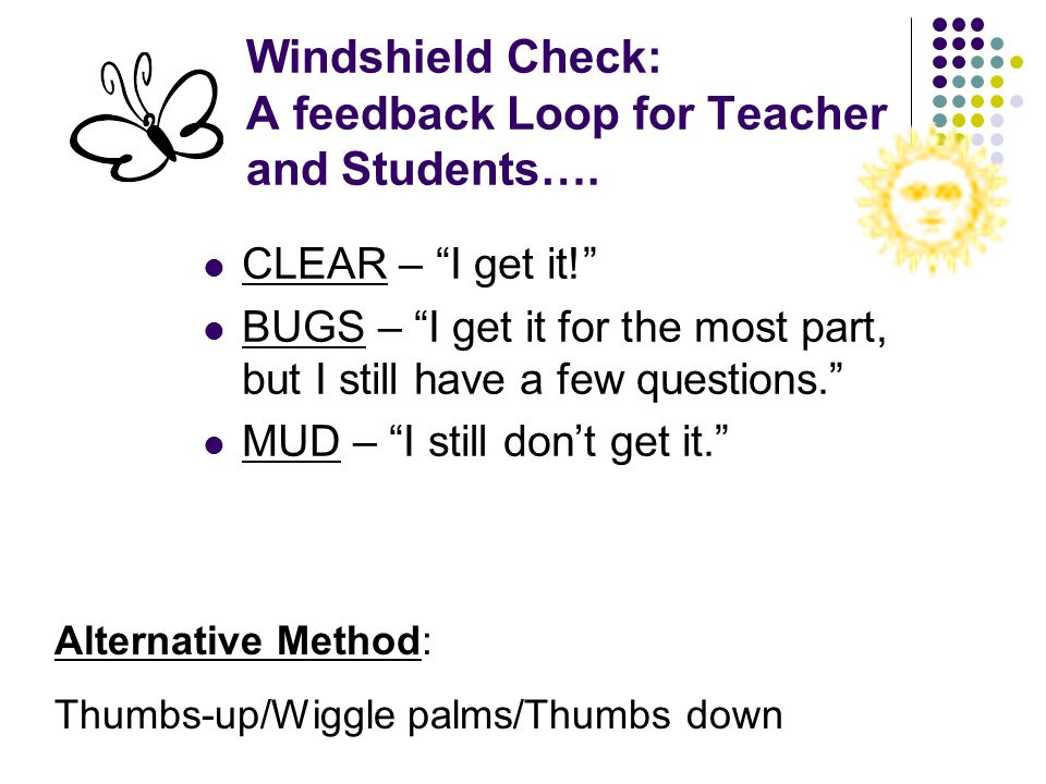 Windshield Check: A feedback Loop for Teacher and Students….