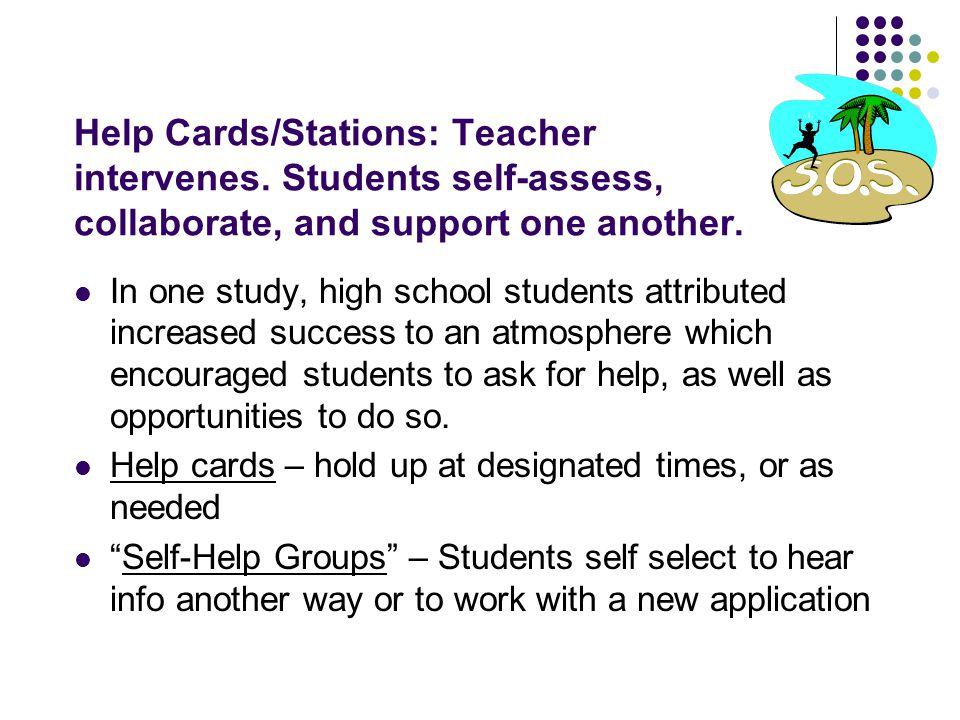 Help Cards/Stations: Teacher intervenes
