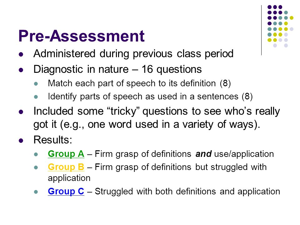 Pre-Assessment Administered during previous class period